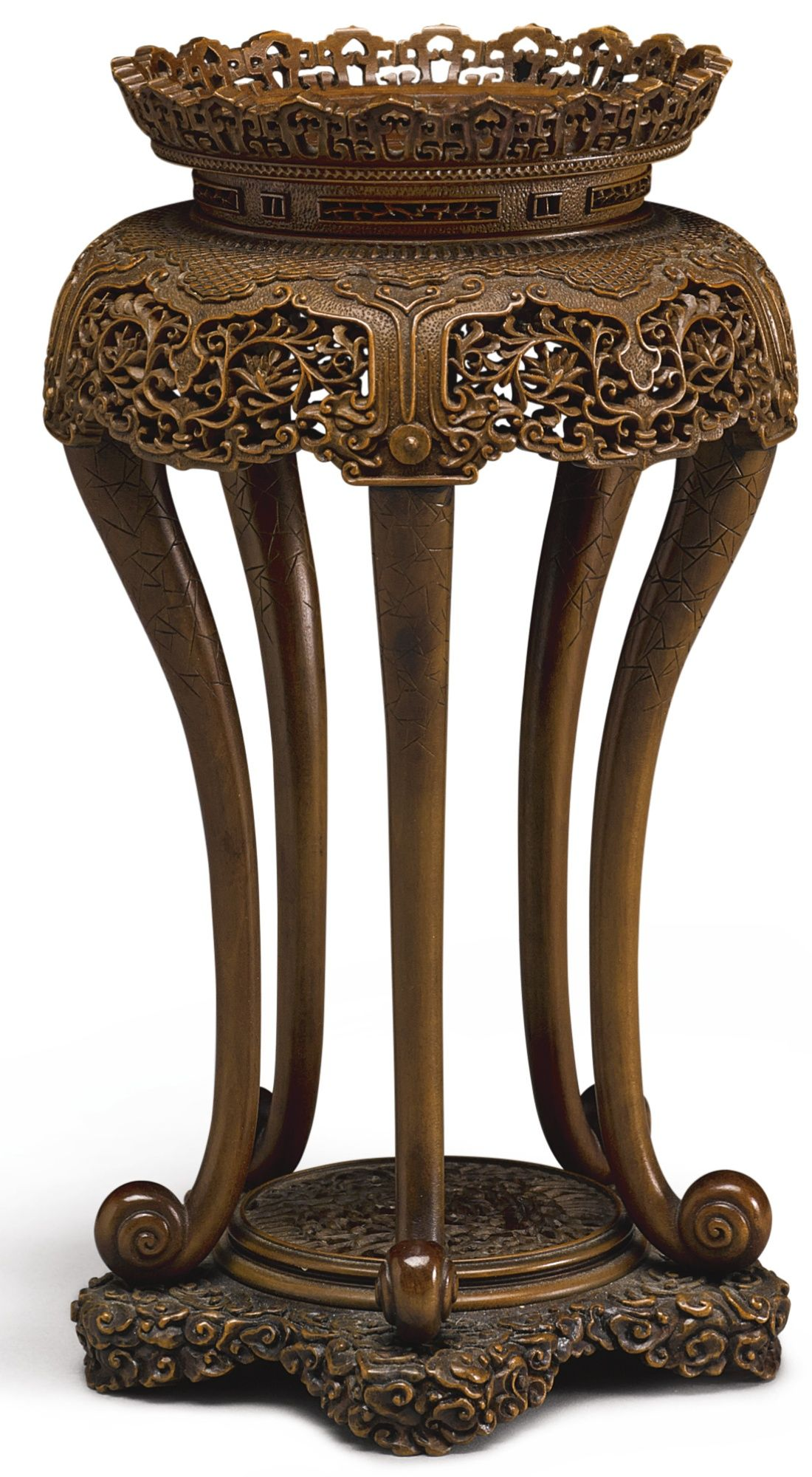 A finely carved miniature boxwood incense stand xiangji