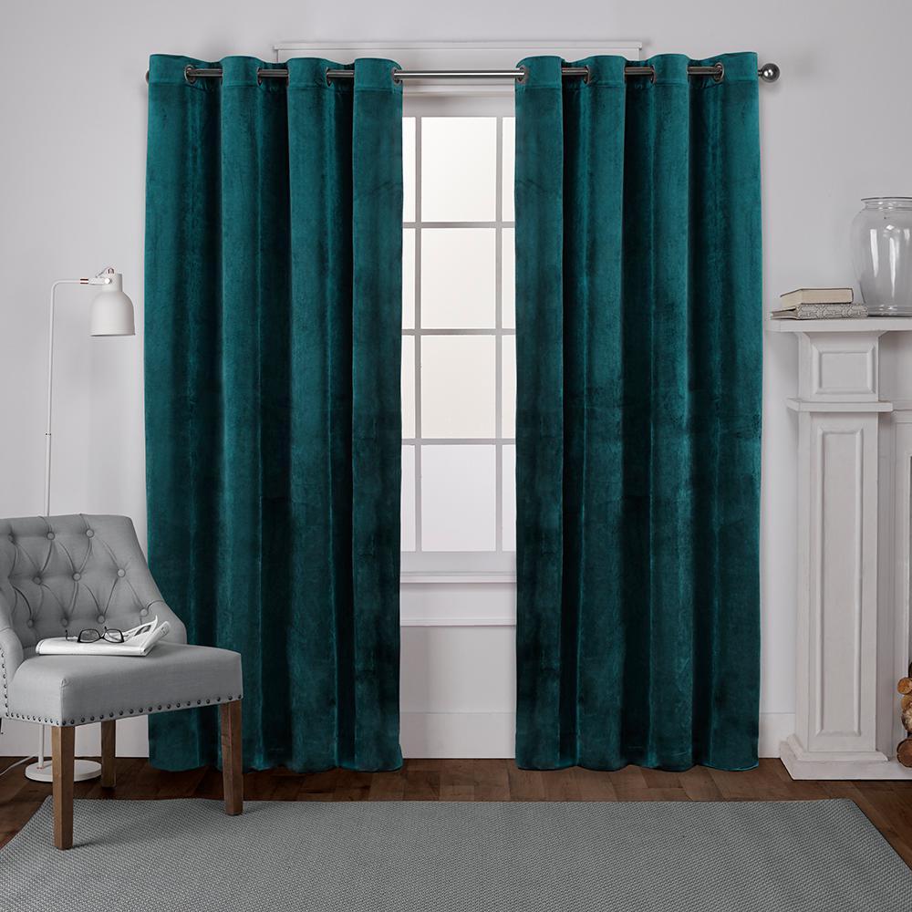 Velvet 54 In W X 96 In L Velvet Grommet Top Curtain Panel In