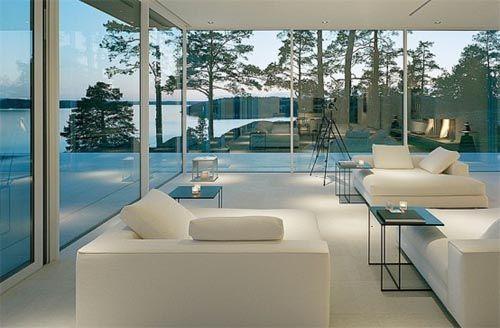White Interior Design · Modern Lake House