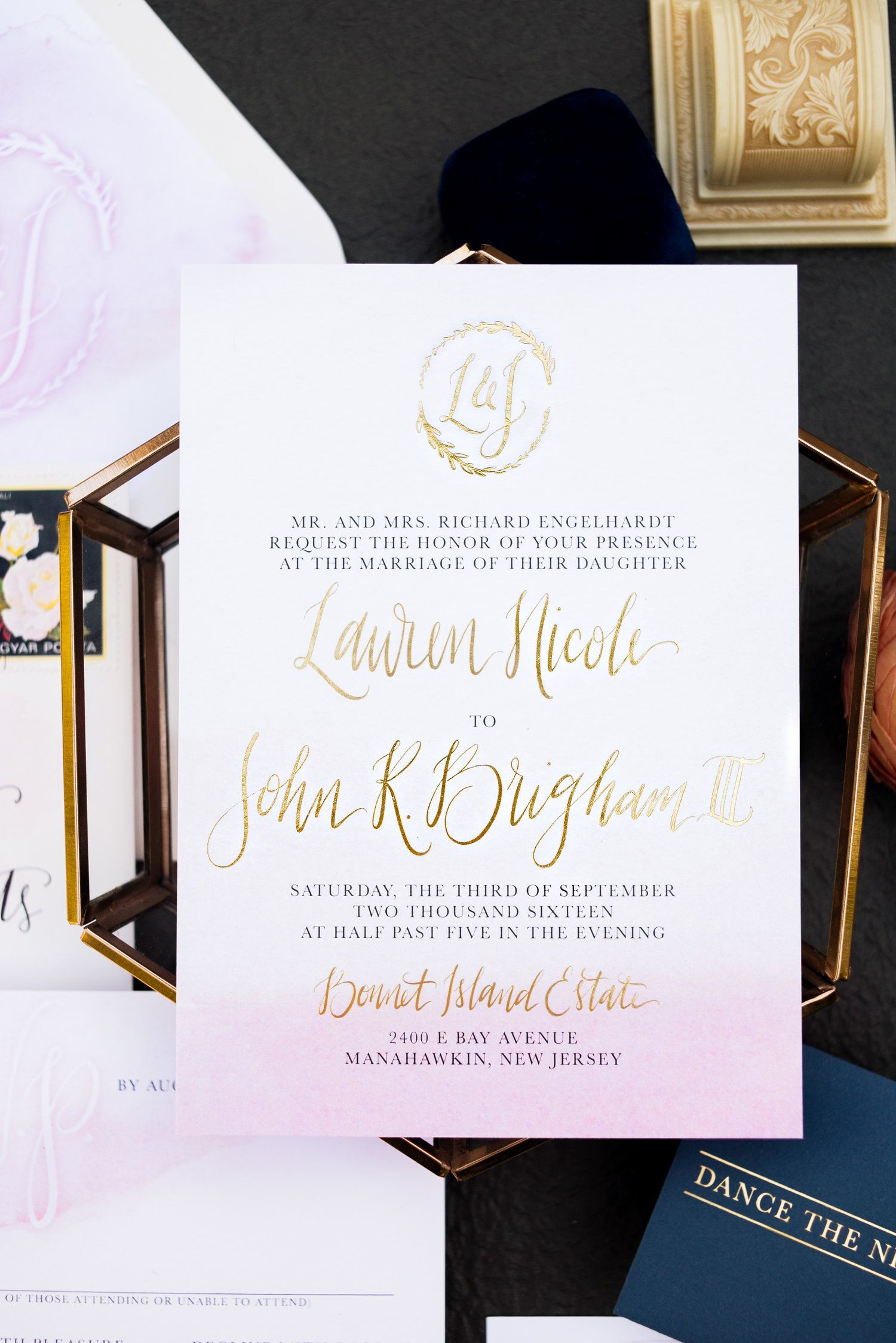 standard size wedding invitation%0A blush watercolor wash and gold foil wedding invitations  custom  calligraphy  logo envelope liner