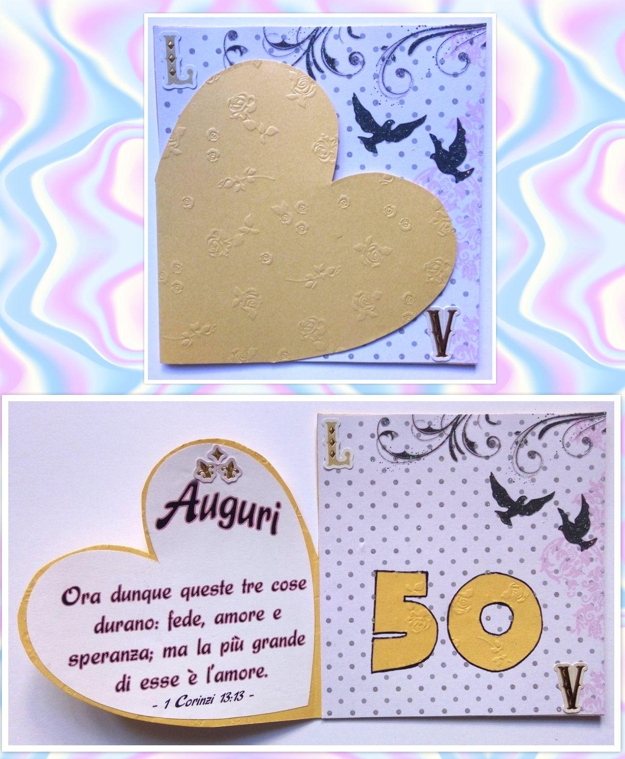 Biglietto Auguri Nozze Oro Anniversario Matrimonio 50 Anni Cuore Amore Biglietti Di Compleanno Biglietti Auguri Fai Da Te Anniversario