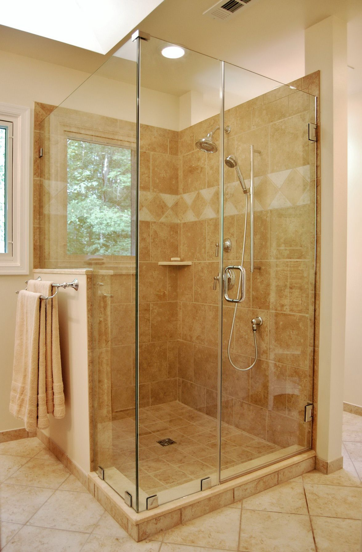 chic glass shower stall kits plus silver handle and tile wall for ...