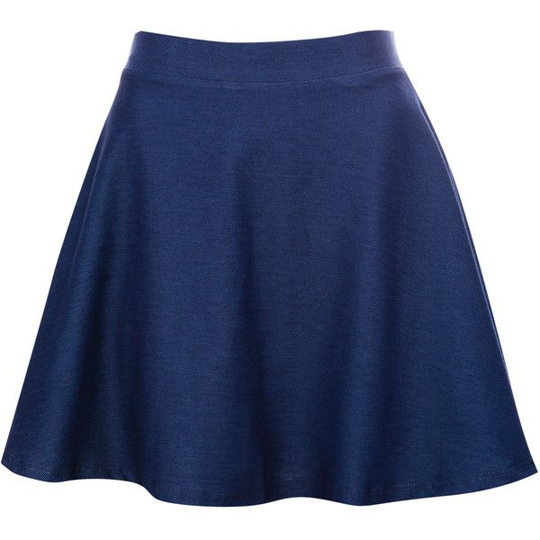 Pull & Bear Skater Skirt ($6.45) ❤ liked on Polyvore featuring skirts, bottoms, saias, jupes, indigo, flared skirt, circle skirts, blue skirt, skater skirt and blue circle skirt