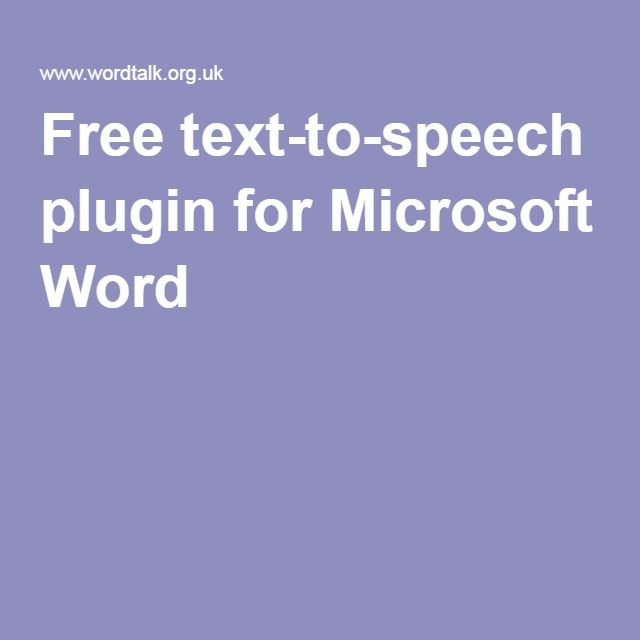 Free text-to-speech plugin for Microsoft Word