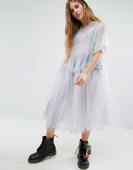 e3fc9c91094 Reclaimed Vintage Oversized Tulle Dress With Ruffles
