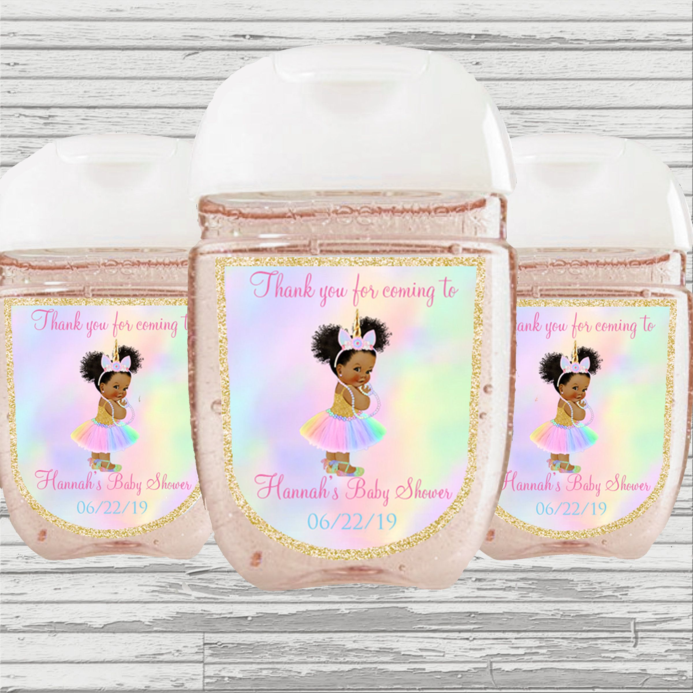 Unicorn Themed Baby Shower First Birthday Favor Hand Sanitizer