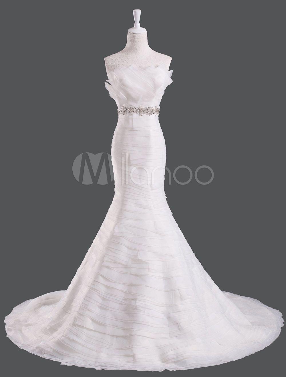 Elegant Ivory Rhinestone Organza Feather Mermaid Wedding Dress with ...