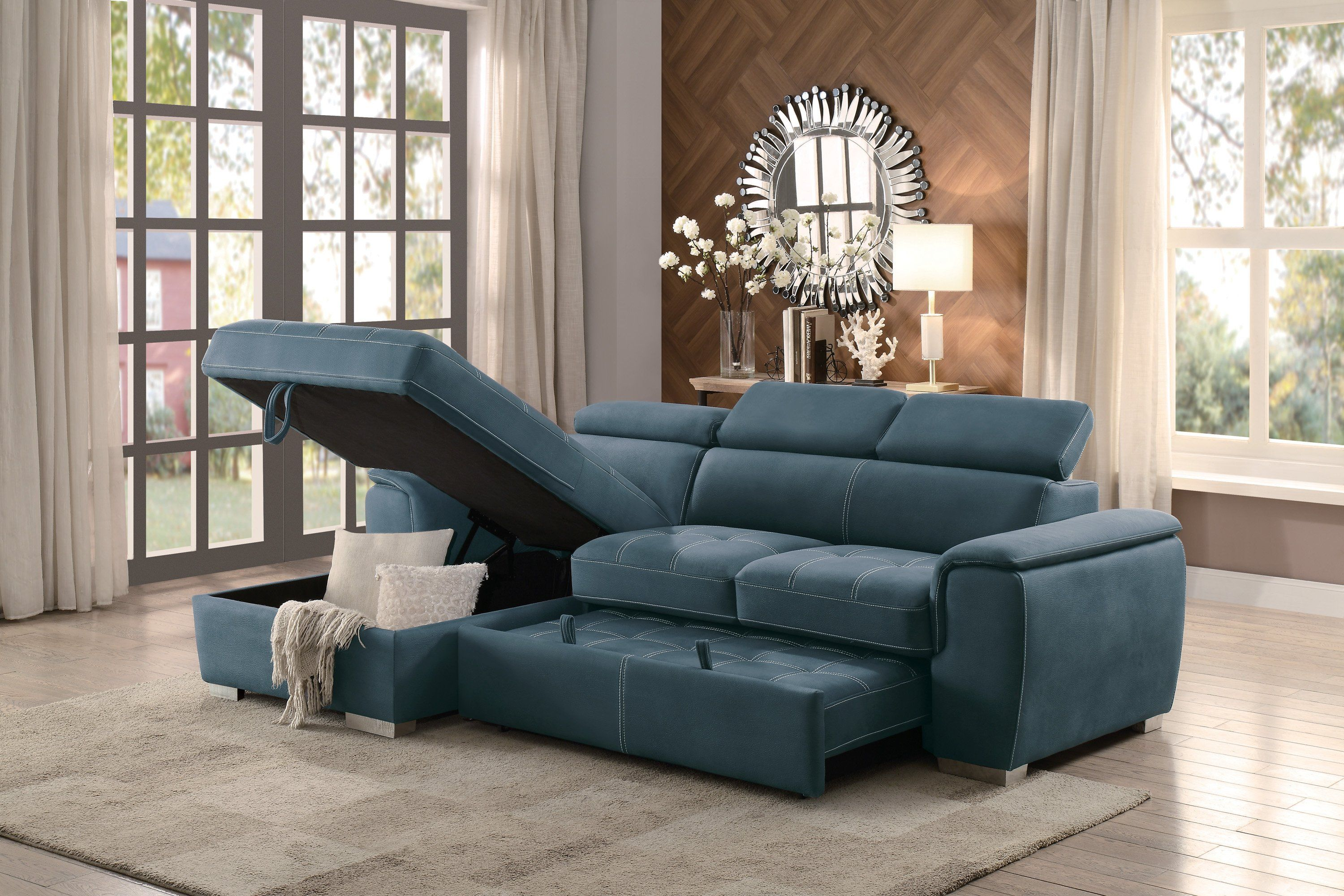 Blue Sectional Sofa With Pullout Sofa Bed And Left Side Storage Sofa Bed With Chaise Sectional Sofa Sofa Bed Dimensions