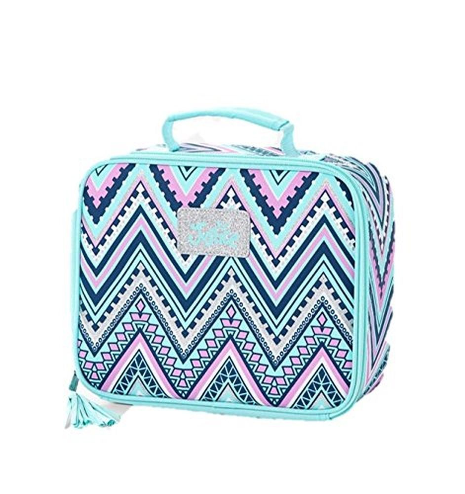 Justice For Girls Lunch Box Tote Chevron Colored Mint Nwt