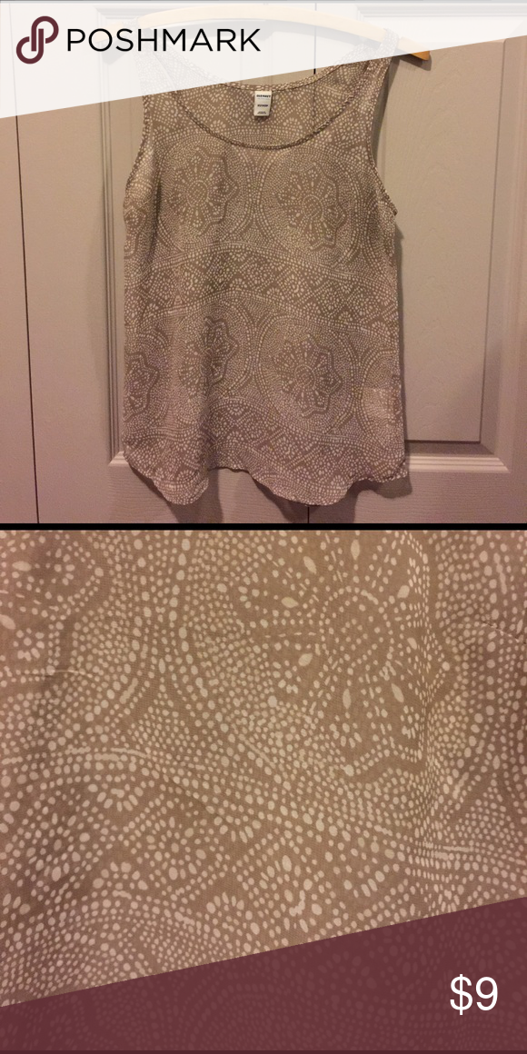 OLD NAVY Sheer Cream Chiffon Tribal Print Top NWOT Sleeveless camisol top from Old Navy. Taupe / cream in color with white dots in a tribal type of pattern. Sheer fabric. Would look great with a bralette underneath! Could easily fit as a size S as well. NWOT. 100% polyester. Old Navy Tops Camisoles
