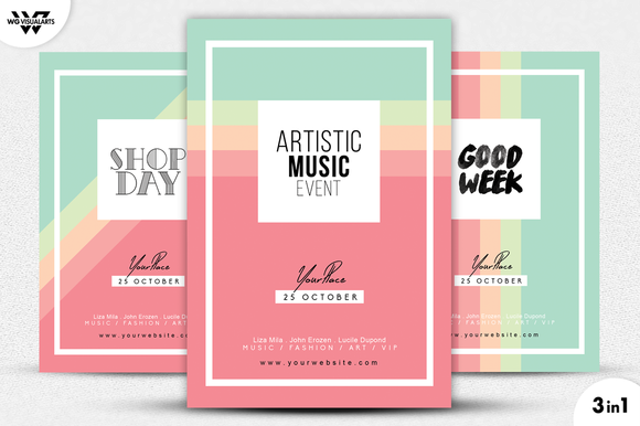 3in1 Modern Flyer Template Flyer Template Template And Design Posters