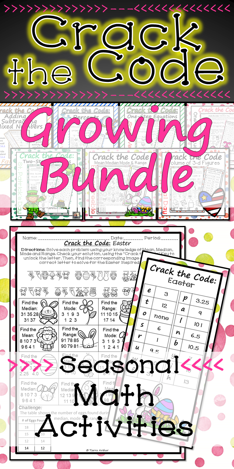 Holiday Math Worksheets Crack The Code Growing Bundle Math