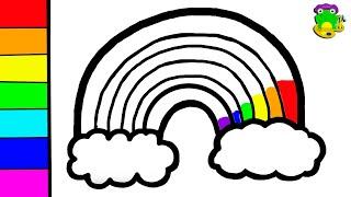 Glitter Rainbow Cloud Coloring And Drawing For Kids Cara Menggambar Dan Mewarnai Pelangi Learning Colors Coloring For Kids Finger Family Song