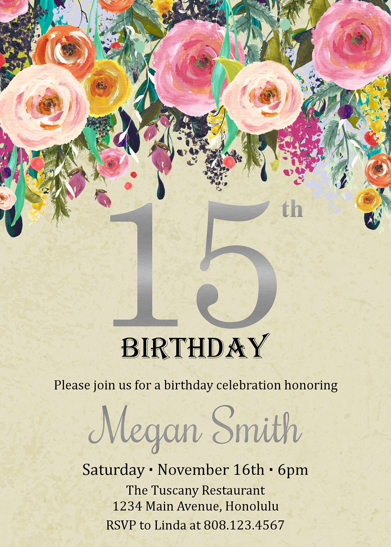 15th Birthday Invitation. Quinceanera Invitation. Floral Birthday ...
