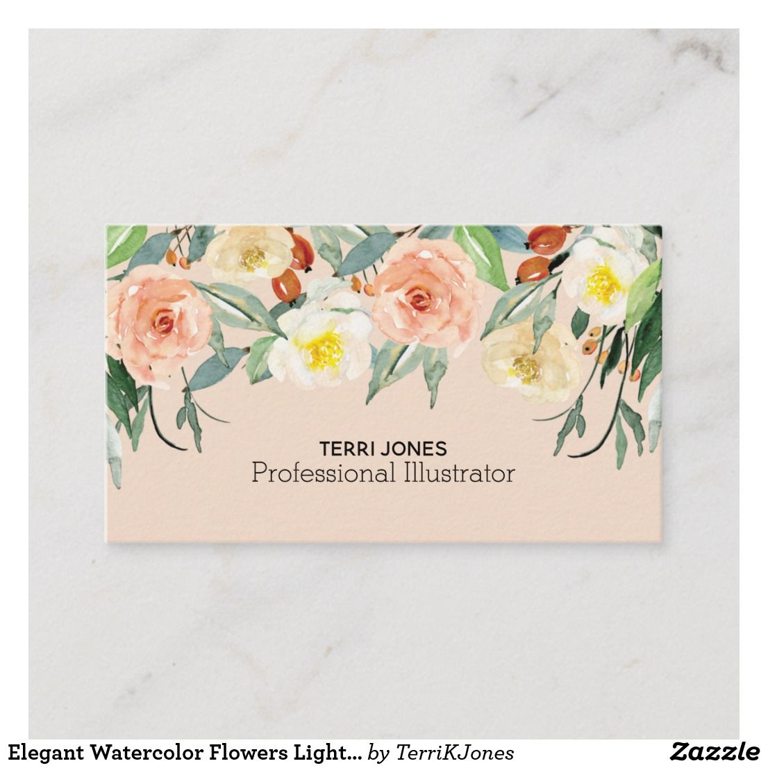 Elegant Watercolor Flowers Light Pink Botanical Businesscards