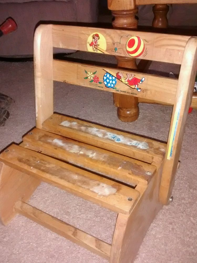 Vintage Nuline Child S Wooden Chair Step/Sit Stool Combo