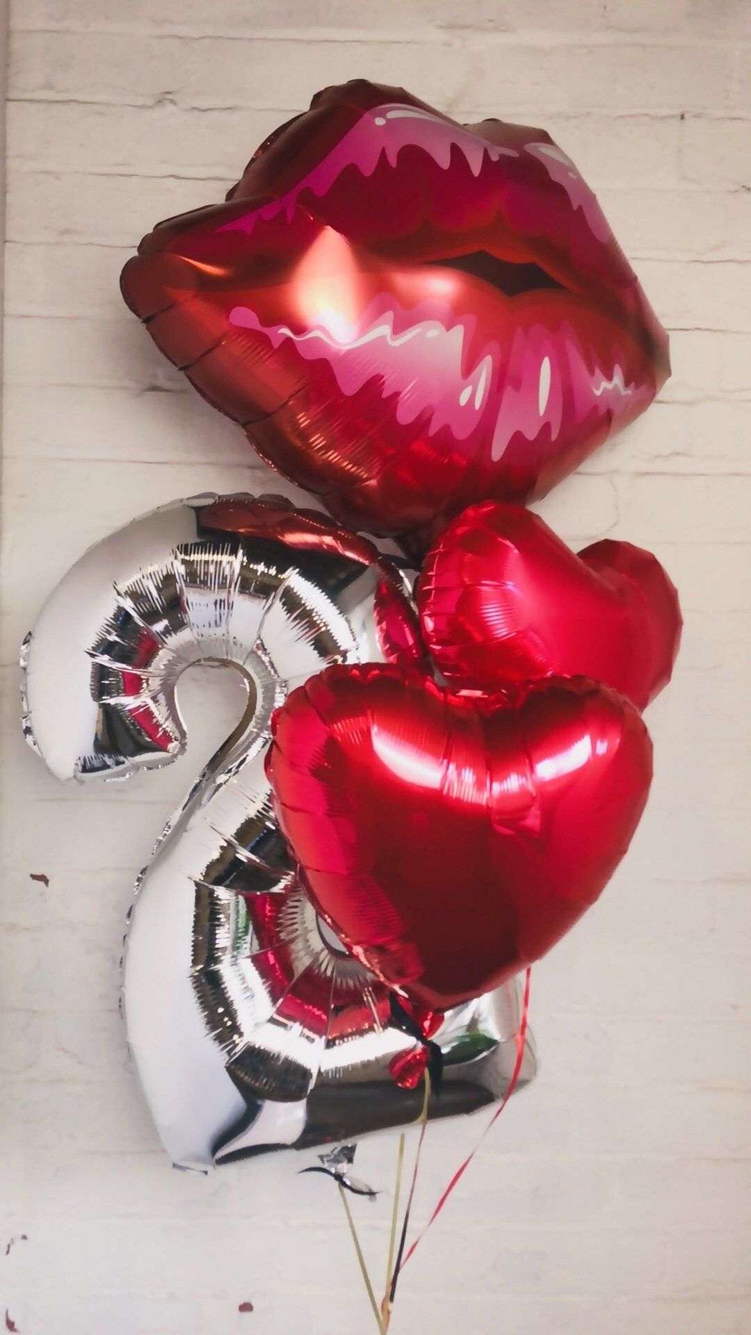 Party Balloons Red Kiss Lips Valentine Wedding Decor Helium Foil Love 2 PCS