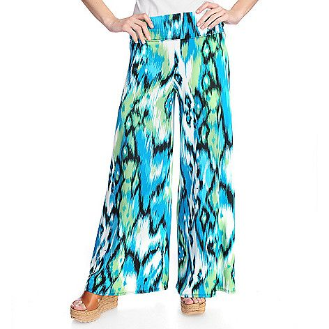 715-874 - aDRESSing WOMAN Printed Knit Wide Elastic Waist Pull-on Printed Palazzo Pants