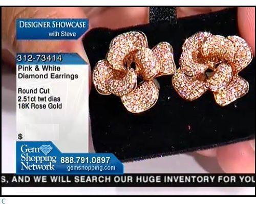 2.51ctwt Pink Diamond Round 18K  Rose Gold Earrings (Flower Design)