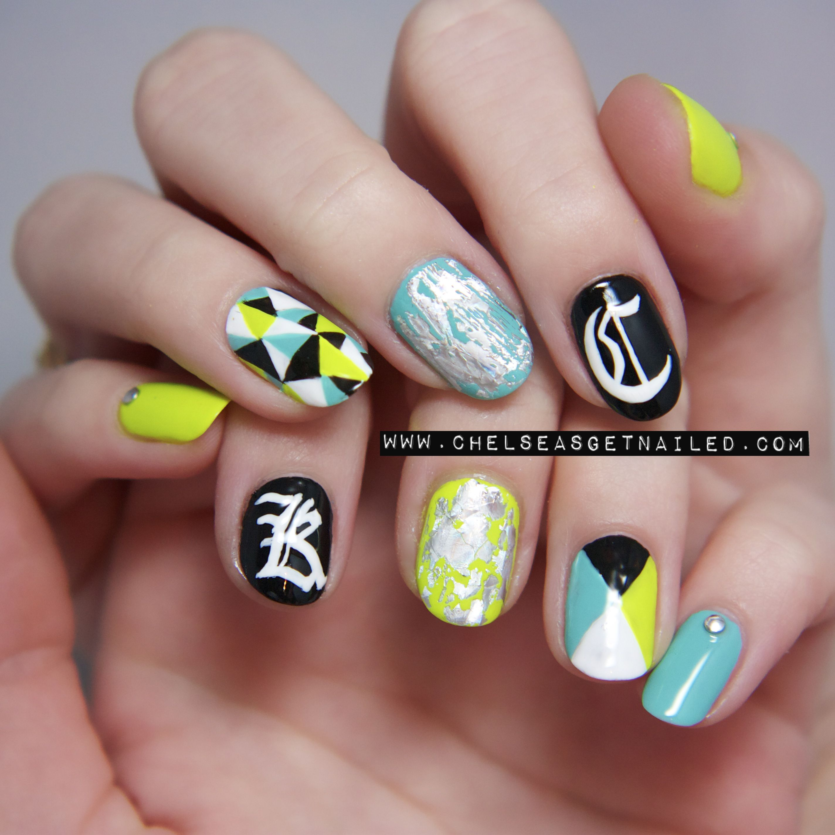Graphic patterns with initials. Love the color combination too.
