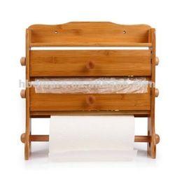 Bamboo 3 Tier Kitchen Towel,Cling Film U0026 Tin Foil Holder   Buy Wood Towel