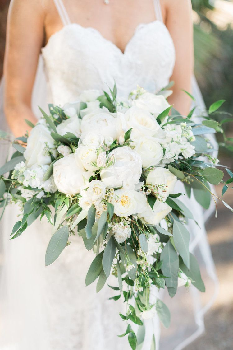 White And Greenery Heart Shaped Bridal Bouquet Wedding Weddings