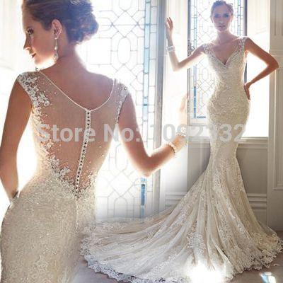 w 2015 New stock bridal gown plus size  women pregnant wedding dress High quality Customized backless deep v-neck tailing