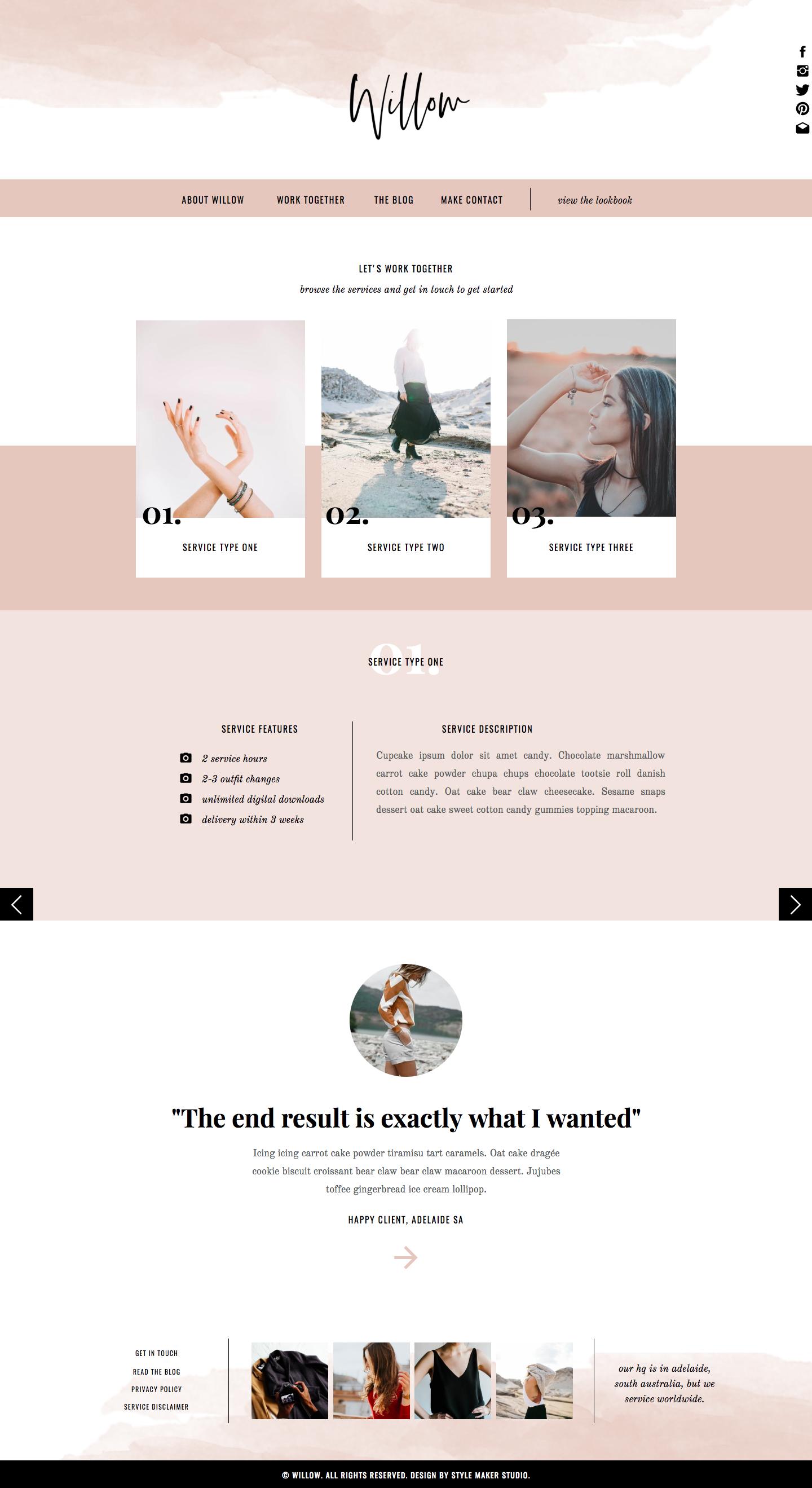 Fashion Website Template for Showit Platform Website
