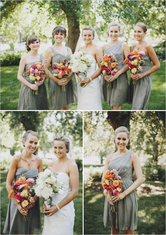 4f312855d0a4 gray bridesmaid dresses with colorful bouquets #graybridesmaid #graydresses  #weddingchicks http://