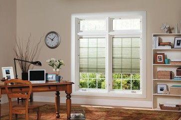 Pella Designer Series Casement Windows W Shades In Between Glass Transitional Windows Casement Windows Vinyl Replacement Windows Home Window Replacement