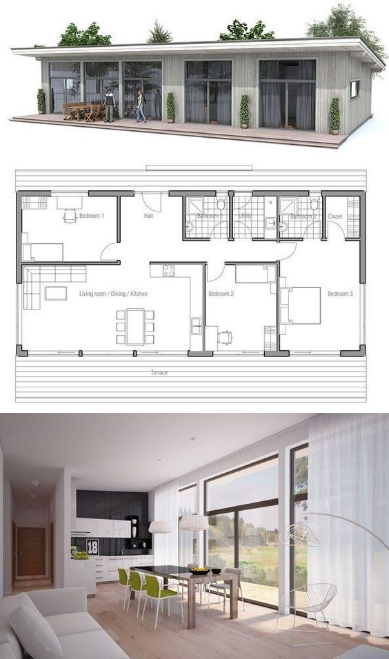 Cheap 2 Bedroom House For Rent: Small House Plan With Affordable Building Budget. Floor