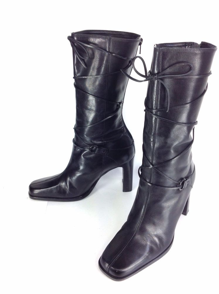 ANNE KLEIN Parisian Soft Black Leather Zipper High Heel Boots - Size 7 1/2 M