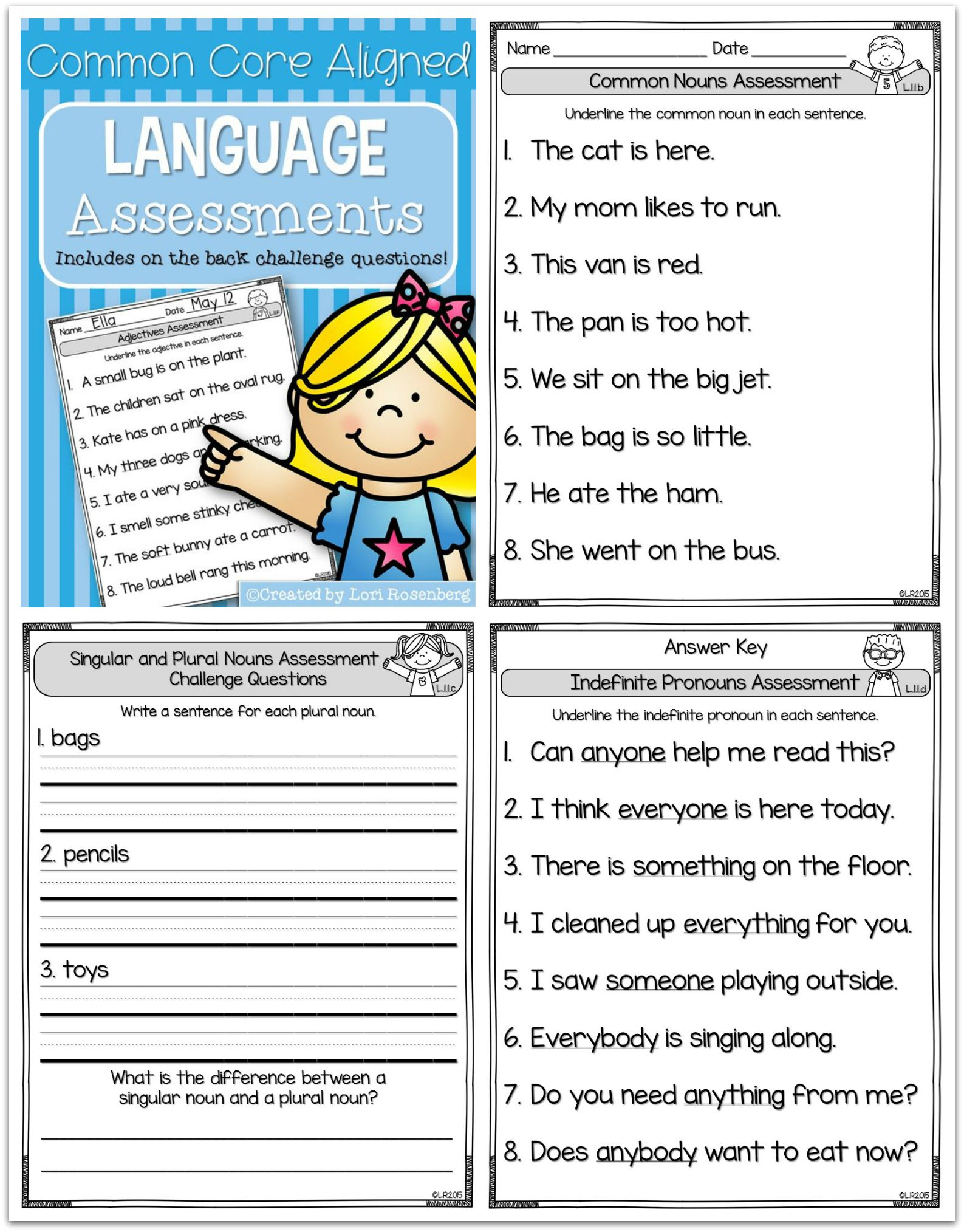 Common Core Aligned Language Assessments First Grade