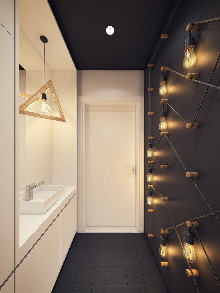 Déco murale salle de bain en 50 ambiances sombres et respirant le