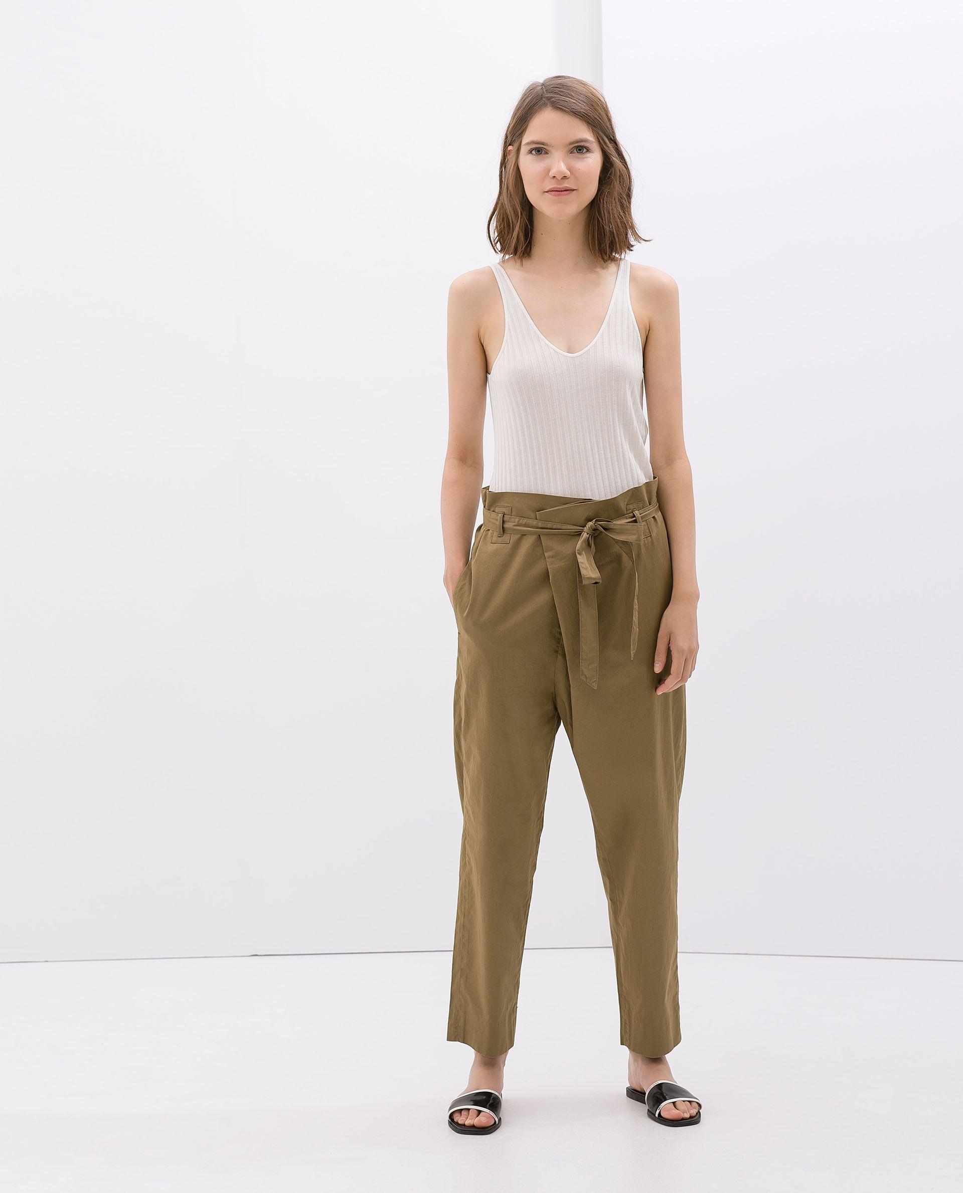 Zara Saténfashion Satin Pantalón Woman Army Trousers E2WH9DI