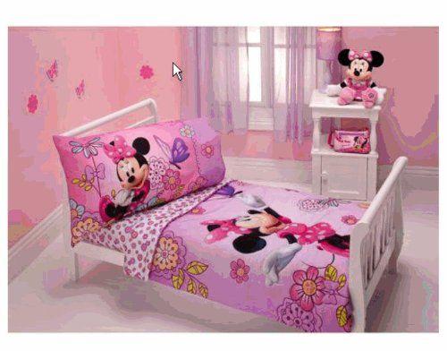 minnie mouse - flower garden 4-piece toddler bedding set | minnie