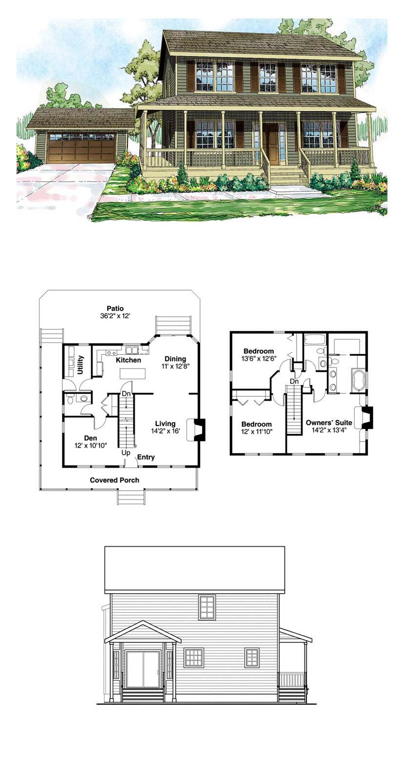 Traditional Style House Plan 60913 With 3 Bed 3 Bath 2 Car Garage Sims House Plans Saltbox Houses House Blueprints