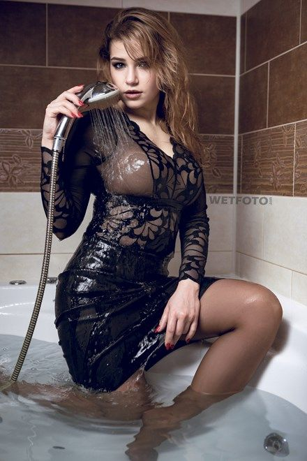 801518cad Fully Clothed Wetlook Model in Sexy Outfit Got Soaking Wet in Bath ...