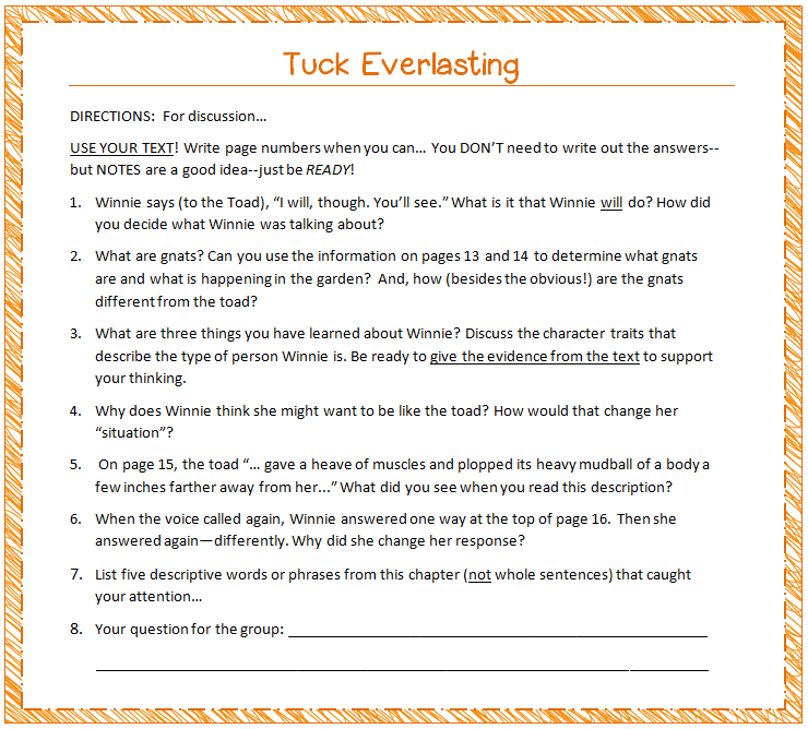 Quotes From Tuck Everlasting Book With Page Numbers: Tuck Everlasting Chapter Summaries
