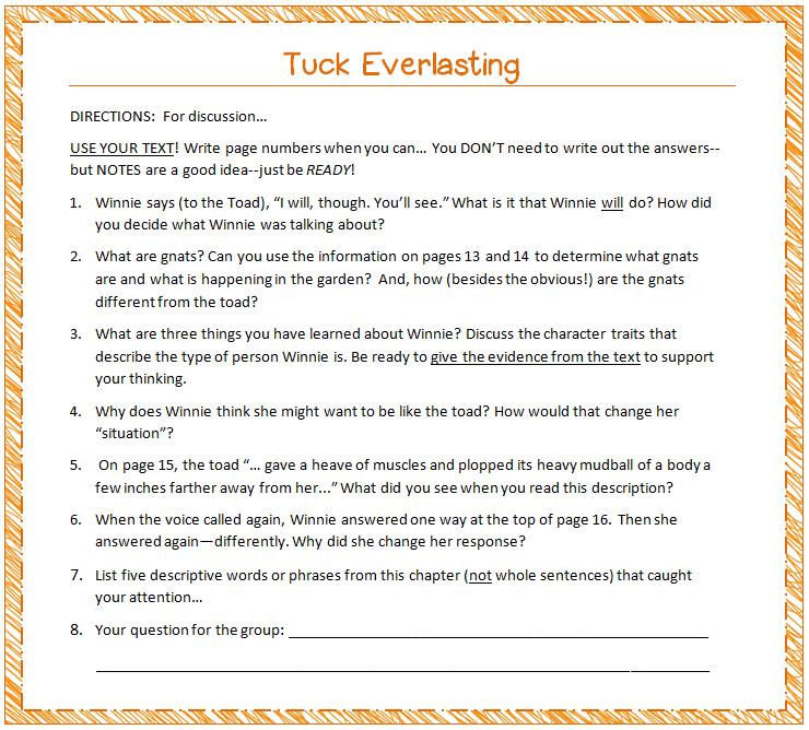 Tuck Everlasting book report!