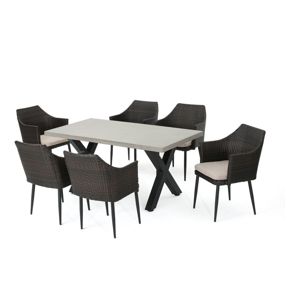 Macy 7pc Wicker And Concrete Dining Set Brown Christopher