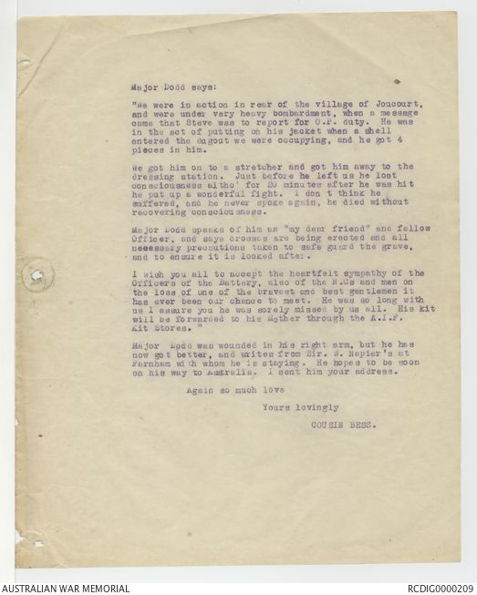 The Typewritten Copies Of Condolence Letters Relating To The First