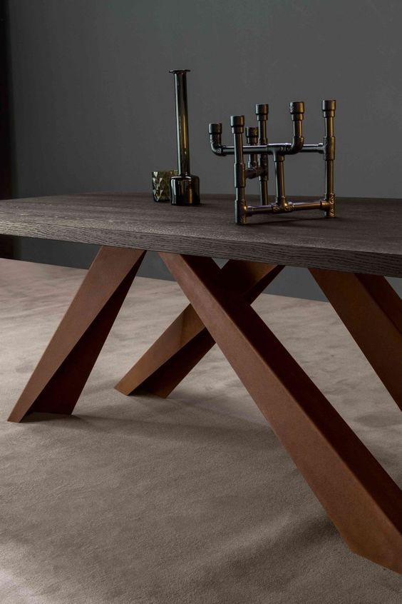 Big Table with the top brushed anthracite grey polished oak and legs in corten By Bonaldo