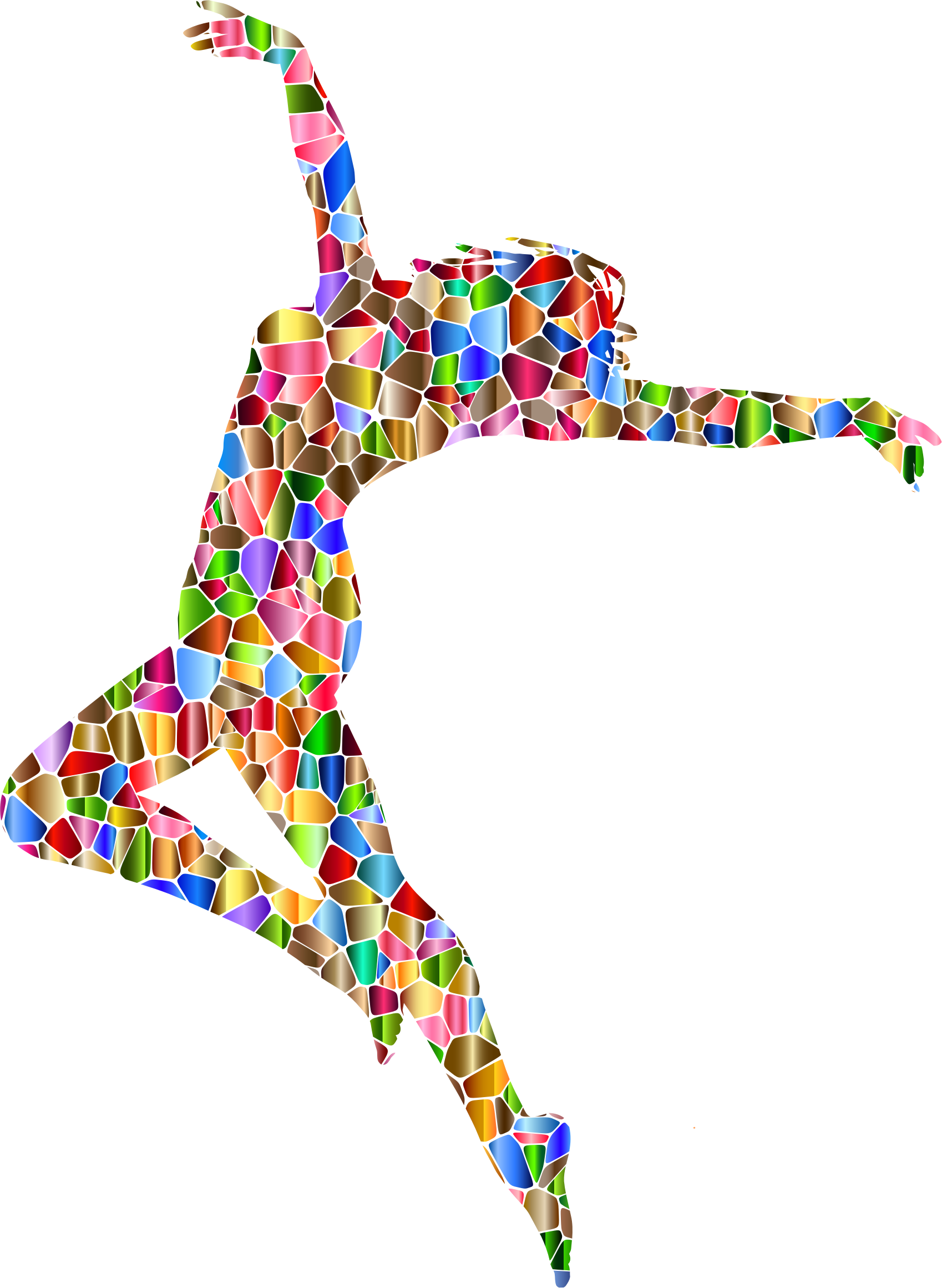 Chromatic Tiled Carefree Dancing Woman Silhouette