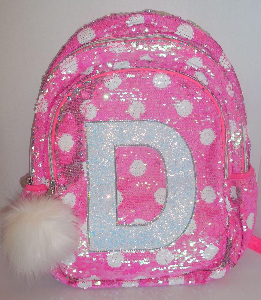 b4c2664fede1 Girls JUSTICE Flip Sequins Backpack Bookbag Initial D Pink White ...