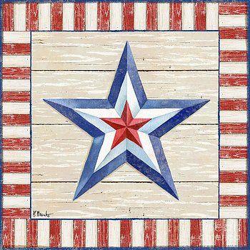 Bordered Patriotic Barn Star III by Paul Brent