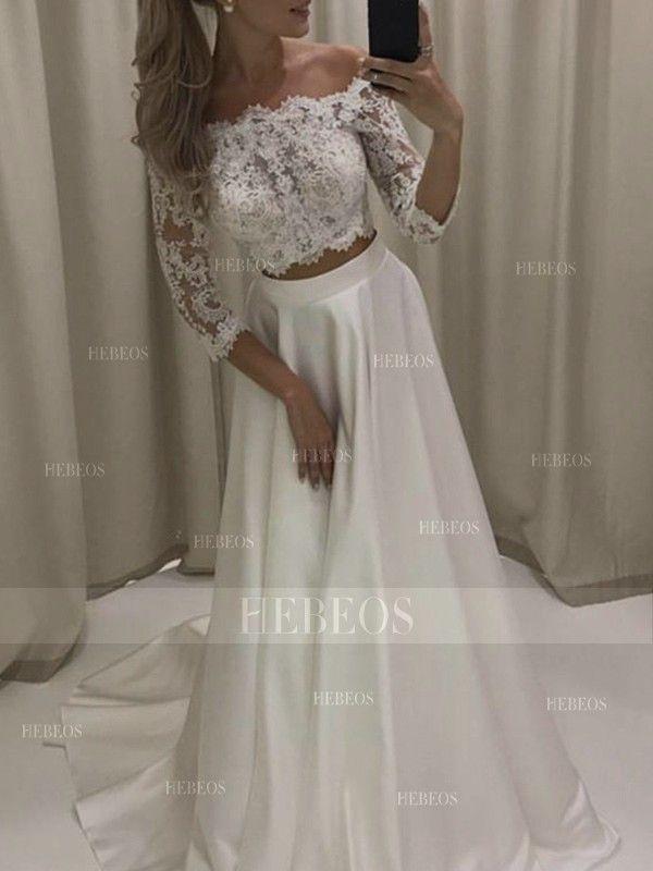 Photo of A-Linie / Prinzessin 3/4 Ärmel Off-the-Shoulder Court Zug Applique Satin Hochzeit …