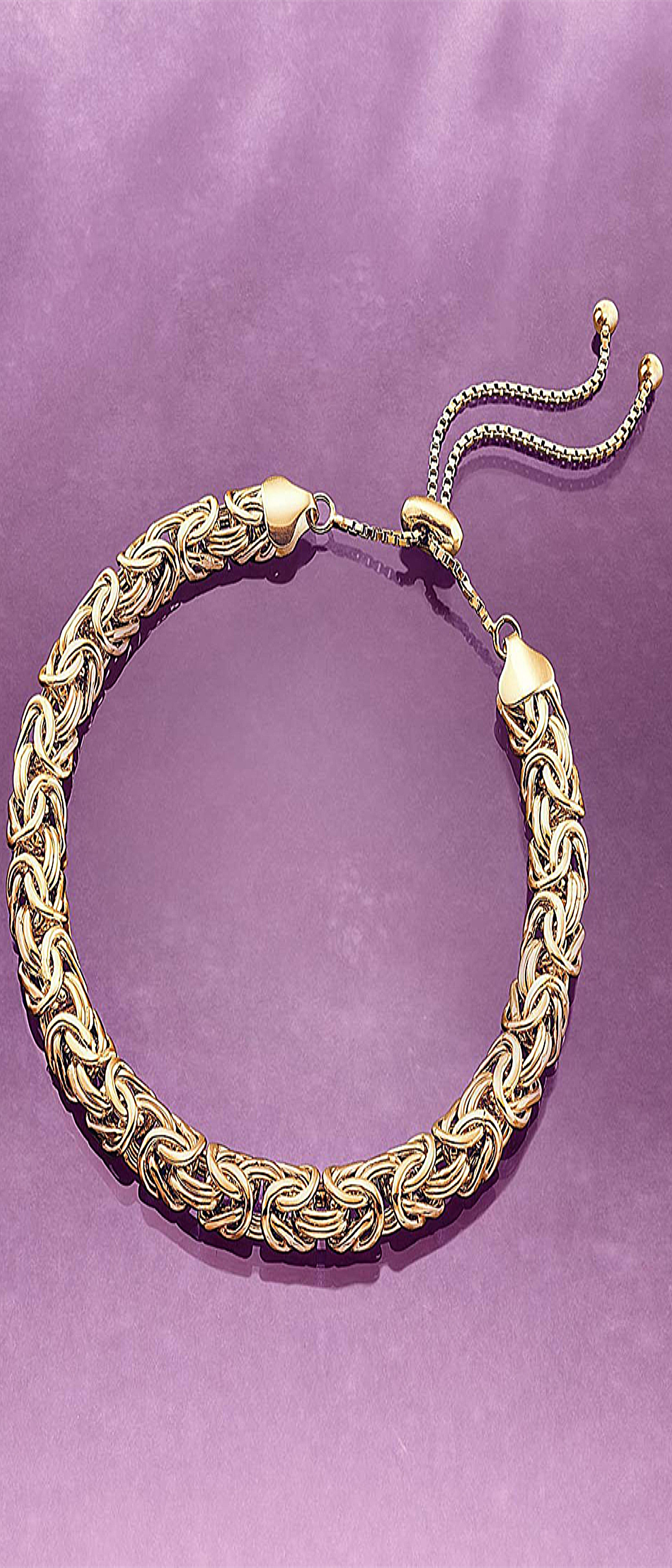 Rosssimons kt yellow gold over sterling silver byzantine bolo