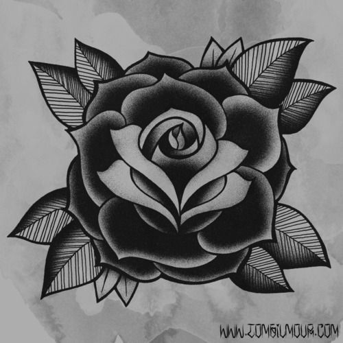 Traditional Rose Tattoo Black And Grey Google Search Traditional Rose Tattoos Old School Rose Sailor Jerry Tattoos