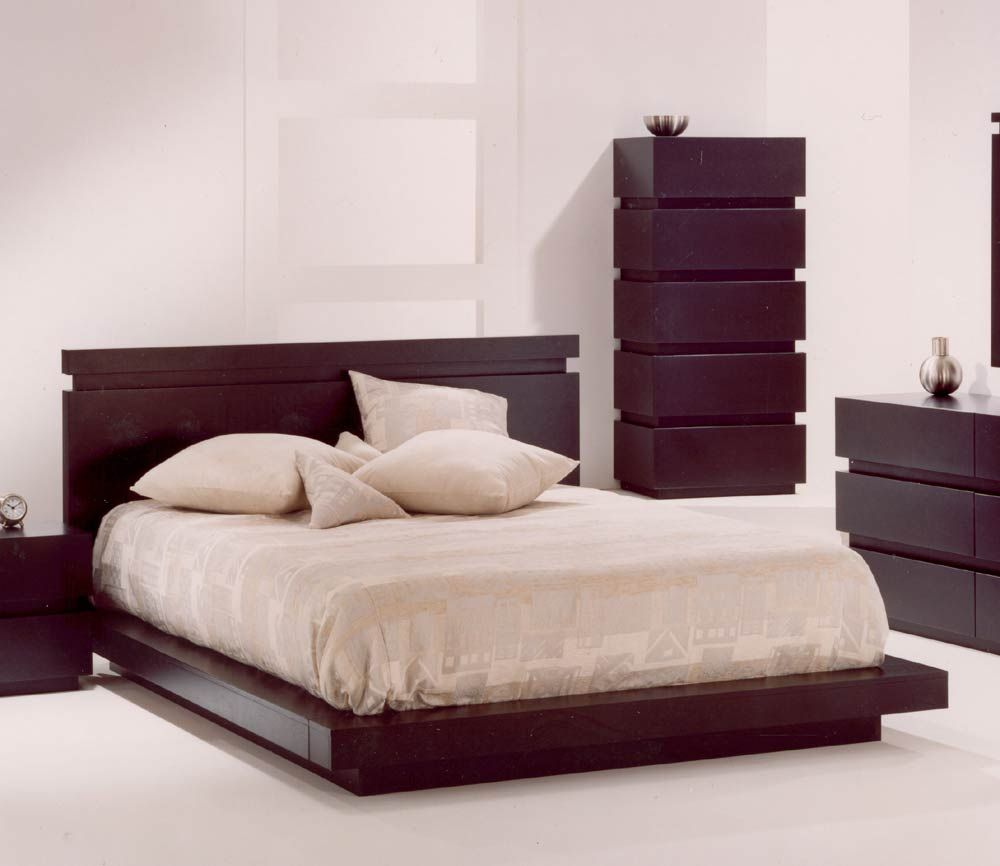 simple double bed designs in wood - 1000×866